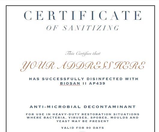 Sanitization Certificate